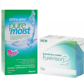 Pure Vision 2 6pk + Alcon OptiFree Pure Moist 120 мл.