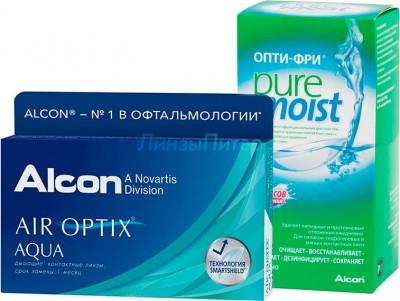 Air Optix Aqua 6 шт. + ALCON Opti-free PureMoist, 120 мл