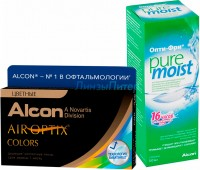 Air Optix Colors 2 pk + Alcon OptiFree Pure Moist 300 мл.