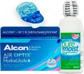Air Optix plus HydraGlyde 3pk + 1 линза в подарок + Alcon Optifree Pure Moist, 60 мл.