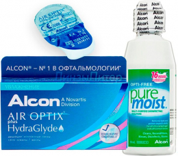 Air Optix plus HydraGlyde 3pk + 1 линза в подарок + Alcon Optifree Pure Moist, 60 мл.