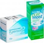 Pure Vision 2 6pk + Alcon OptiFree Pure Moist 300 мл.