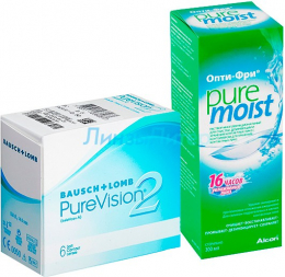 Pure Vision 2 6pk + Alcon OptiFree Pure Moist 300 мл.