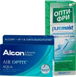 Air Optix Aqua 6 шт. + ALCON Opti-free PureMoist, 300 мл