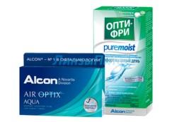 Air Optix Aqua 3pk + ALCON Opti-free PureMoist, 120 мл