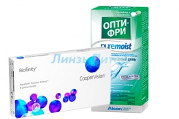 Biofinity, 6pk + ALCON Opti-free PureMoist, 120 мл.
