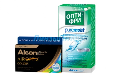 Air Optix Colors 2 pk + Alcon OptiFree Pure Moist 120 мл.
