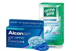 Air Optix plus HydraGlyde 3pk + 1 линза + Alcon Optifree Pure Moist, 120 мл.